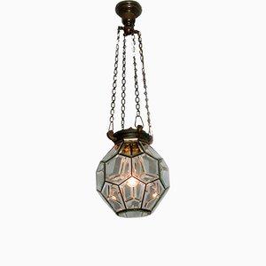 Abgschrägte geometrische Deckenlampe aus Glas, 1900er