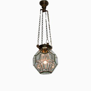 Beveled Glass Geometric Ceiling Light, 1900s
