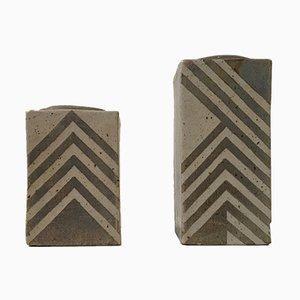 Jarrones daneses geométricos de gres de Sten Børsting, años 90. Juego de 2