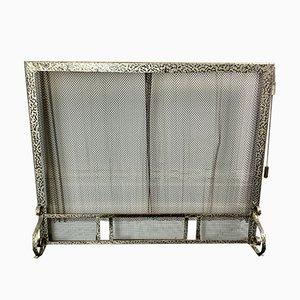 Vintage Metal Fire Screen with Chainmail