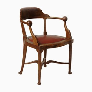 Hungarian Solid Oak Model No. 803 Armchair from Lingel Karoly & Sons, 1915