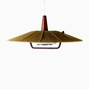 Lampe Suspendue Mid-Century en Teck et Plexiglas de Temde
