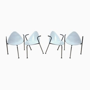 Stackable Metal & White Lacquered Wood Chairs from Sope Finland,1960, Set of 4