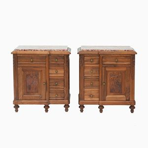 French Carved Walnut & Veriegated Marble Nightstands, 1930s, Set of 2