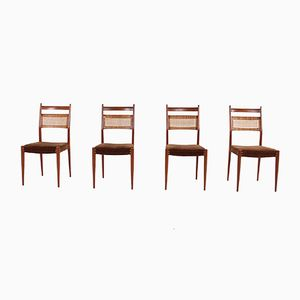 Cane & Teak Chairs, 1960s, Set of 4