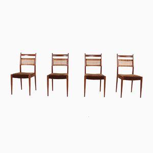 Chaises Cannées en Teck, 1960s, Set de 4