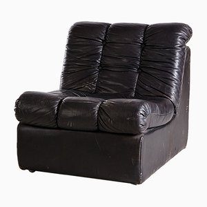 Modulares Vintage Sofa aus schwarzem Leder, 1970er