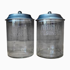 Edwardian Shop Glass Advertising Jars from Wright & Sons, Set of 2