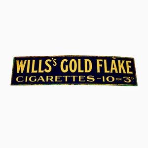Panneau Publicitaire Will's Gold Flake Vintage en Émail Doré, 1940s