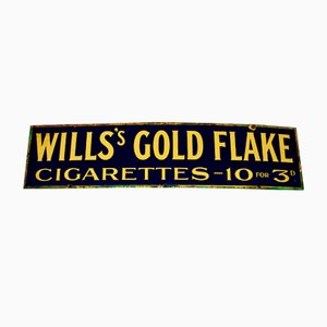 Vintage Will's Gold Flake Enamel Advertising Sign, 1940s