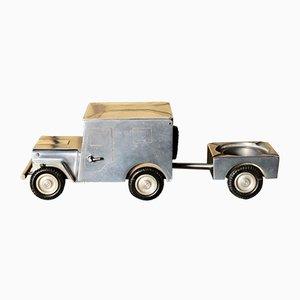 Vintage WWII Willy's Jeep & Anhänger Tischfeuerzeug, Aschenbecher & Zigarettenetui von Walter Baier, 1940er