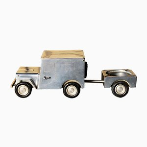 Vintage WWII Willy's Jeep Table Lighter, Ashtray & Cigarette Case from Walter Baier, 1940s