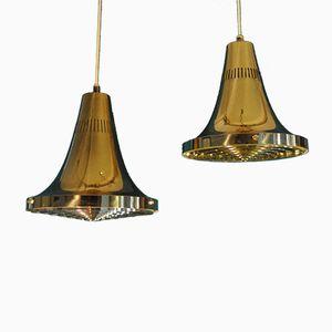 Lampes à Suspension T 598 Vintage en Laiton par Hans-Agne Jakobsson pour Hans-Agne Jakobsson AB Markaryd, Set de 2