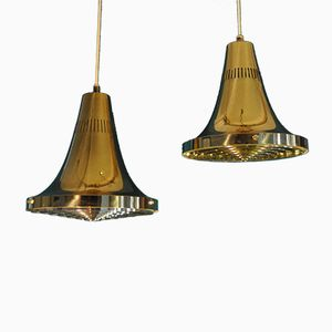 Vintage T 598 Brass Pendant Lamps by Hans-Agne Jakobsson for Hans-Agne Jakobsson AB Markaryd, Set of 2
