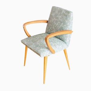 Französischer Mid-Century Sessel aus Buche in grünem & weißem Skai, 1960er