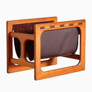 Vintage Teak Framed Newspaper Rack by Aksel Kjersgaard, 1960s