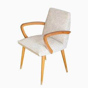 French Beech Armchair with Cream Skai Seat, 1960s