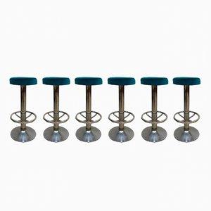 Tabourets de Bar Vintage en Velours Bleu, Set de 6