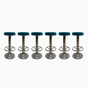 Vintage Blue Velvet Barstools, Set of 6