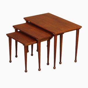 Tavolini ad incastro Mid-Century in teak