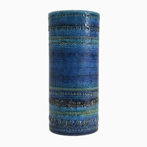Vintage Blue Rimini Series Vase by Aldo Londi for Bitossi, 1950s