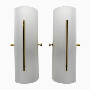 Vintage Column Wall Lights in White Perspex, 1960s, Set of 2