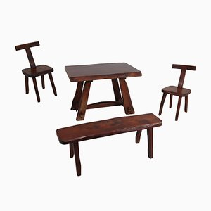 Sedie, tavolo e panca modello T vintage di Olavi Hänninen per Mikko Nupponen