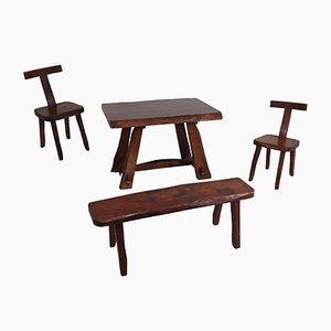 Vintage Modell T Stühle, Tisch & Bank Set von Olavi Hänninen für Mikko Nupponen