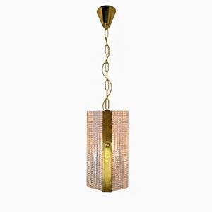 Brass & Art-Glass Pendant, 1970s