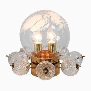 Mid-Century Brass Chandelier with Handblown Art-Glass, 1960s