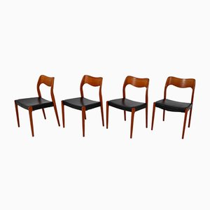 Vintage No. 71 Dining Chairs by Niels Otto Møller Dining Chairs for J. L. Møllers, Set of 4