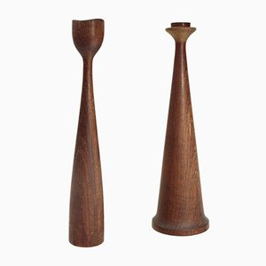 Mid-Century Teak Candleholders by Anri Form, 1950s, Set of 2