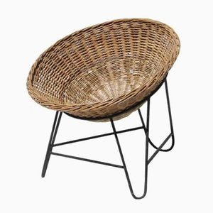 Vintage Wicker Lounge Chair, 1960s