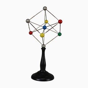 Wissenschaftliches Mid-Century Kristallglasmodell auf Holzfuß