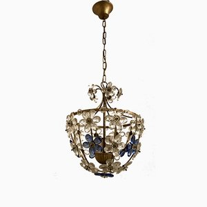 Vintage Murano Glass Flower Pendant Light