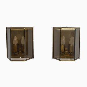 Applique in ottone e vetro di Holtkotter, anni '70, set di 2
