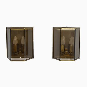 German Brass & Glass Sconces from Holtkotter, 1970s, Set of 2