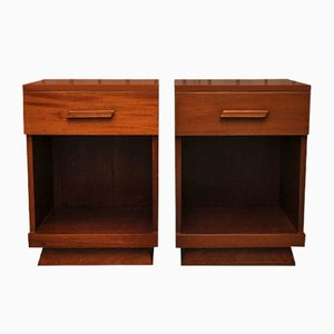 Art Deco Nightstands with Drawers, 1920s, Set of 2