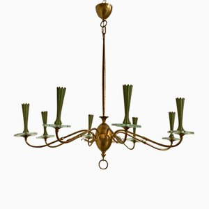 Vintage Bronze Chandelier from Fontana Arte