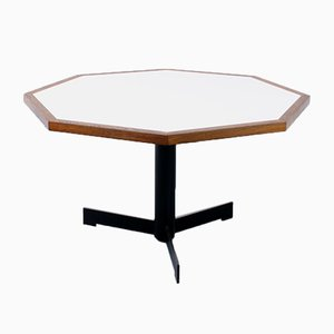 Dutch Modernist Hexagonal Wenge & White Formica Dining Table, 1970s