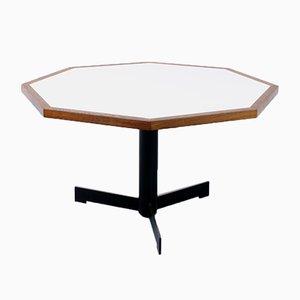 Mesa de comedor holandesa modernista hexagonal de wengué y formica blanca, años 70