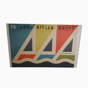 Poster Vintage par Gert Brunck pour Graphische Werke Allemagneia Druckerei AG, Allemagne, 1957