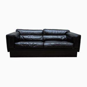 Belgische Vintage Couch aus Schwarzleder, 1974