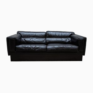 Vintage Belgian Black Leather Couch, 1974