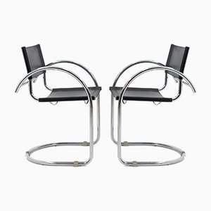 Bauhaus Black Leather and Chrome Chairs, 1972, Set of 2