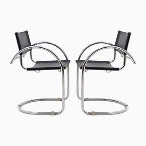 Sedie Bauhaus in metallo cromato e pelle nera, 1972, set di 2