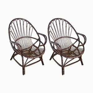French Rattan Armchairs, 1970s, Set of 2