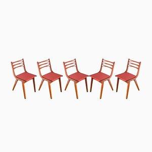 Sedie vintage in legno verniciato ed ecopelle con piedi a compasso, anni '70, set di 5