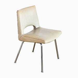 Vintage French Chromed Metal & Skai Chair, 1970s