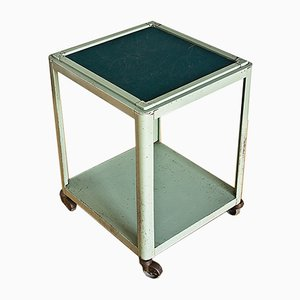 Vintage Lacquered Metal Side Table with Wheels, 1960s